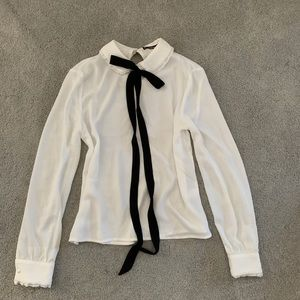 SHEIN White Bow Tie Blouse XS
